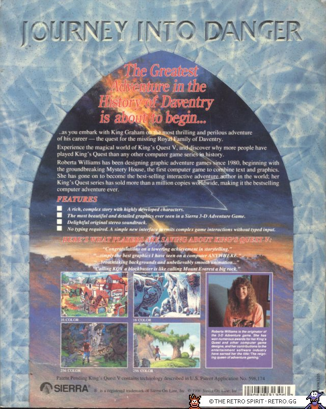 Back side of the box. Also with some nifty info about Roberta Williams herself.