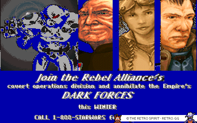 Various screenshots from the demo of Star Wars: Dark Forces.
