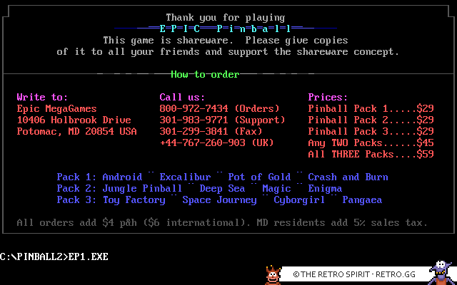 DOS orderinfo screen for Epic Pinball.