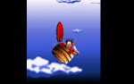 When blount tries to escape the flying ship he uses a barrel and an umbrella. However, that turns out to be bad luck.